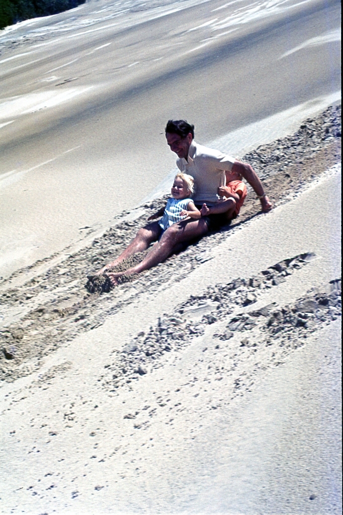 Sliding down Transkei Sand Dunes, South Africa, 1973